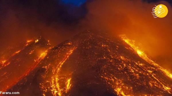 (تصاویر) سرازیر شدن مواد مذاب از آتشفشان اتنا